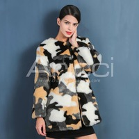 High quality classic pattern colorful faux fur coat women