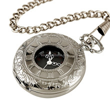 WP001 New Mens Black Dial Roman Numbers Antique Pocket Watch with Chain
