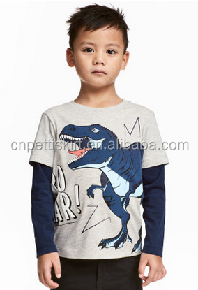 best selling 2017 cartoon dinosaur printing factory direct sale baby clothes wholesale high quality cotton fall boy clothing