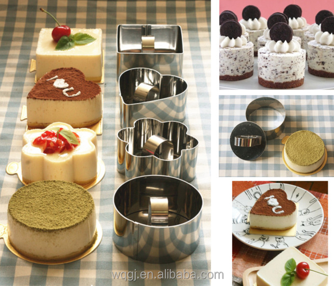 Hot Kitchen Pastry Tools Stainless Steel Mousse Cake Ring Mold with Press Lid