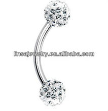 Cheap stainless steel eyebrow rings with clear rhinestone eyebrow piercing designs