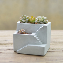 White Cement Flower Planter Pot 2 floor Staircase shape Concrete Desktop Planter House Plant