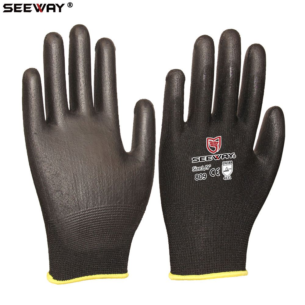 Seeway Black Color 13 Gauge Nylon PU(Polyurethane) Coated <strong>Gloves</strong>
