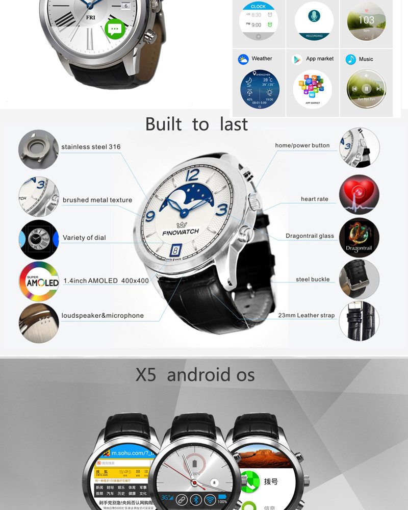 X5 touch screen mobile phone watch android wifi smart watch 1gb ram s55 smart watch
