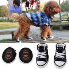 Wholesale comfortable fashion fabric pet dog shoes boots with soft rubber sole