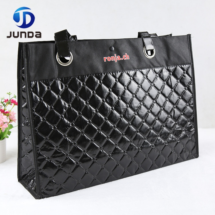 Wholesale Reusable Custom Logo Embossed Pp Non Woven Button Gift Tote Bag/lady Hand Bag