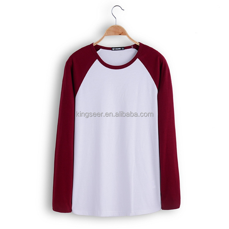 Spring Summer Casual Round Collar Combed 100% Cotton Raglan Long Sleeve T Shirt