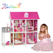 Topseller Bettina DIY Fashion Plastic Barbiee Doll House With 3 Dolls and Furniture