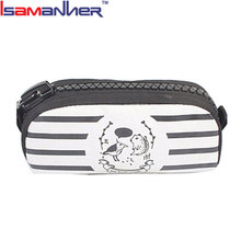 Isamanner custom printed casual large pen pouch kids zipper canvas pencil case bag