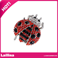 Women's Brooches Silver Tone Red and Black Rhinestones Crystal Big Ladybug Insect Brooch Pin