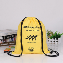 printed logo customized organic gym student backpack bag drawstring