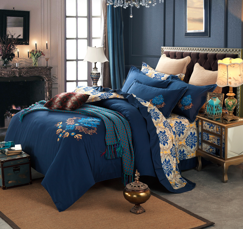 100% Cotton embroidery style bed sets queen bedding <strong>sheet</strong> dark blue