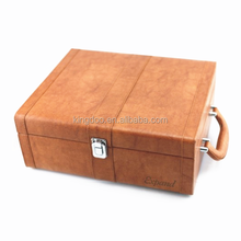 Classic Style Two Bottles Leather Wine Carrier Gift Box with Latch