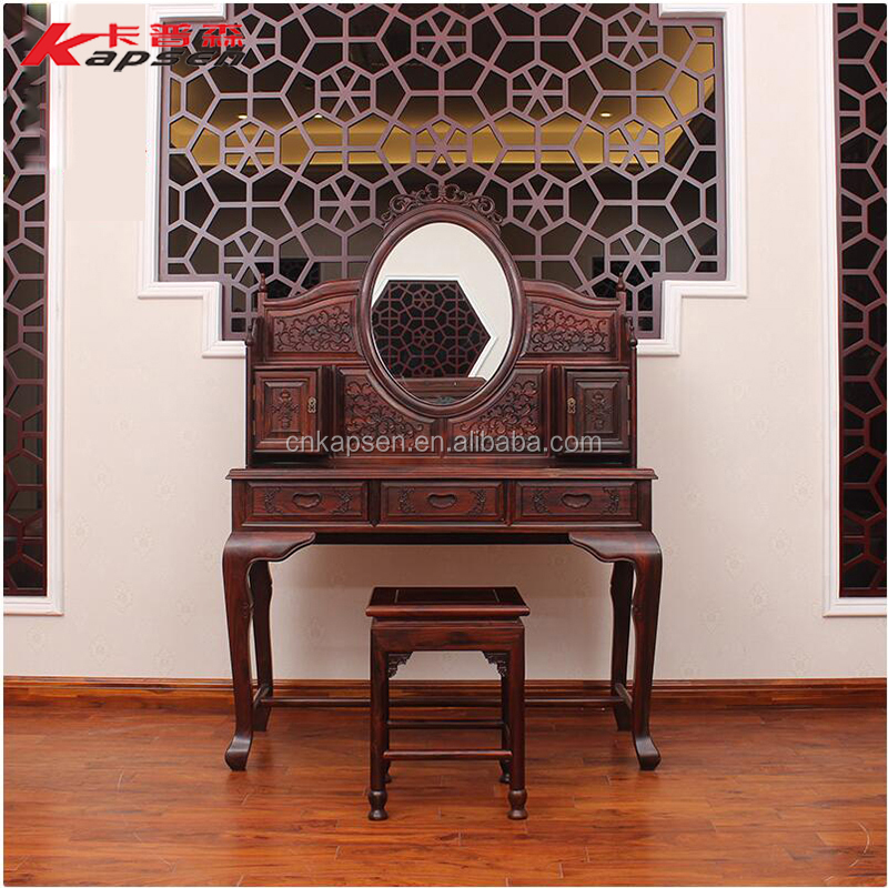 Antique Chinese Rosewood Design Dresser Solid Wooden Dresser with Mirror Chair Bedroom Furniture Makeup Stool
