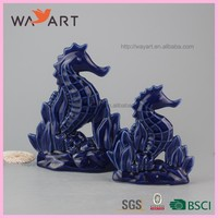 Delicate Blue Seahorse Shaped Ceramic Wall Art Decor