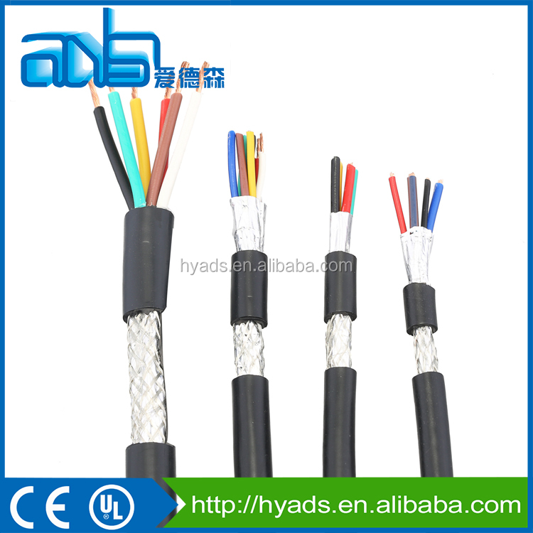 China manufacturer pvc insulated low voltage mutil cores braid shielded computer cable