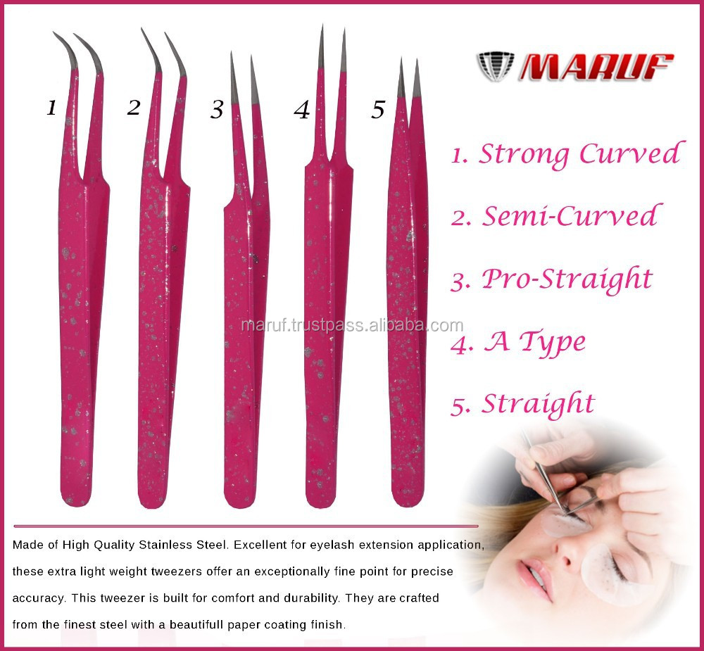 2016 Hot Selling Stainless Steel 440C Complete Set Color Curved Tip Eyelash Extension Tweezers - tweezer Eyelash-001