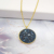 Shiny Design Natural Agate druzy Stone Pendants 18K Gold  Plated Crystal Round pendant