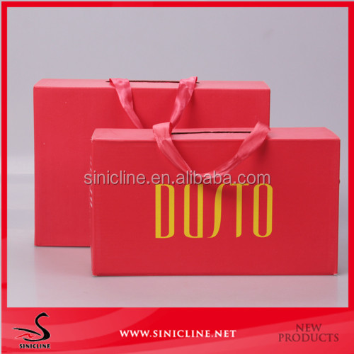 Sinicline custom logo printed corrugated boxes shoe box with handle