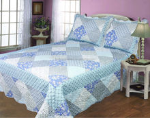 Plaid printed patchwork bedding sets/purple patchwork quilt