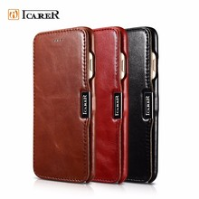 ICARER Customized Vintage Genuine Leather Folio Phone Case for iPhone 7