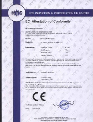 EC ATTESTATION OF CONFORMITY