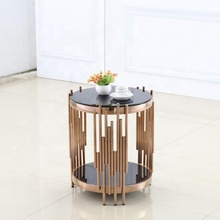 Rose Gold Glass Top Brass Brushed Stainless Steel Coffee End Table Modern Luxury <strong>Furniture</strong>