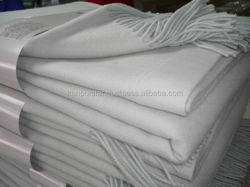 100%Wool 100%Cashmere Brushed white Blanket With Fringe