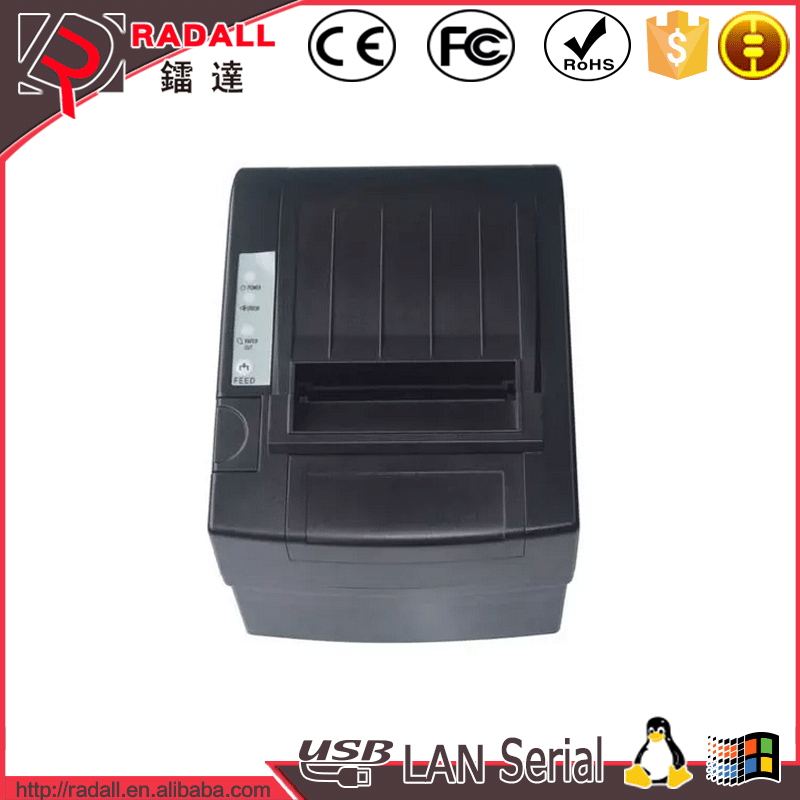 8220 80mm paper size thermal receipt 80 pos printer width with three ports USB + Ethenet + Serial for supermarket