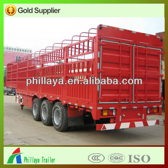 curtain side semi trailer with spare tire rack,livestock semi trailers for sale