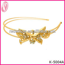 Hot!!! Yellow Metal Wire Gold Crystal Hairband Bridal Headband In Bulk