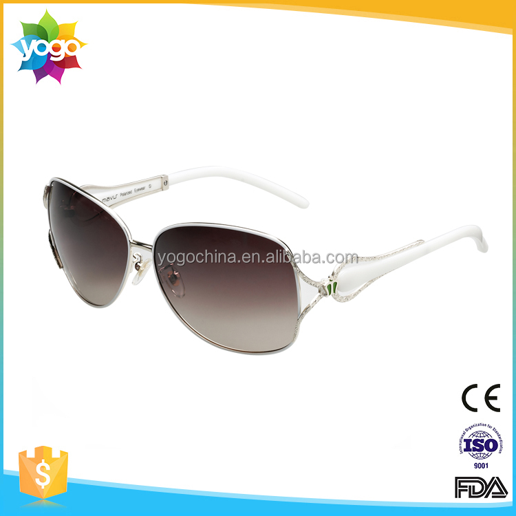 Custom logo printed lenses shinning diamond decoration sunglasses for women