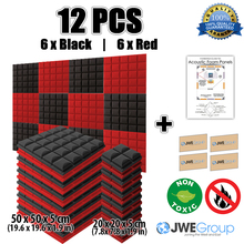 New 12pcs Black and Red Bundle Hemisphere Grid Type Acoustic Panel Sound Absorption Soundproof Foam 50x50x5cm 7 Colors KK1040