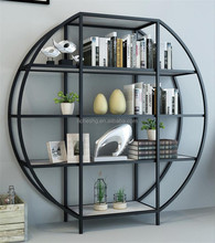 round design 4 tier metal shelf iron furniture for study room