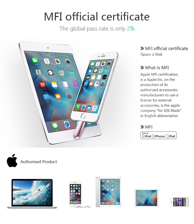 New arrival MFI Certificate USB 3.0 U Disk Storage for iphone