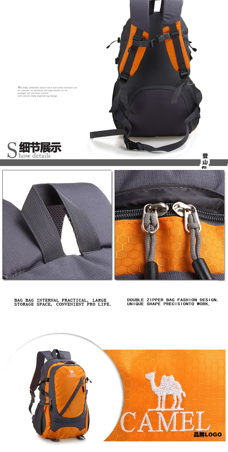 Waterproof Nylon Travel Sport Mountaineering Bag Zipper Hiking Backpack Backpacker