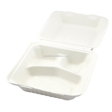 Environmental Eco-Friendly Bagasse Sugarcane 3-Compartment Clam Shell Container
