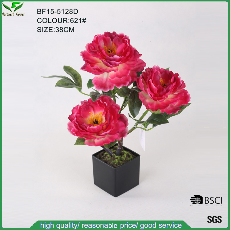 Wholesale Red Colour Artificial Peony Flower Bonsai for Interior Decor