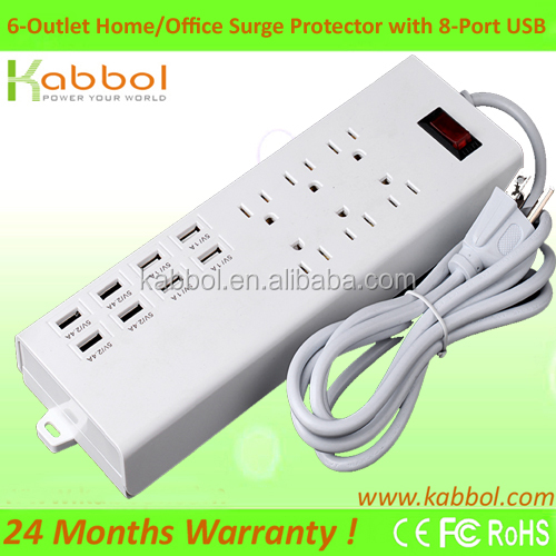 2016 New Arrival Surge power protection 6 outlet 8 usb charging Power Strip for Samsung Galaxy S6 for Motorola Turbo Droid