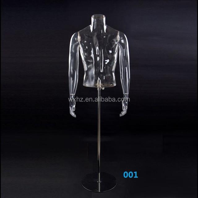 Male plastic transparent mannequin upper body