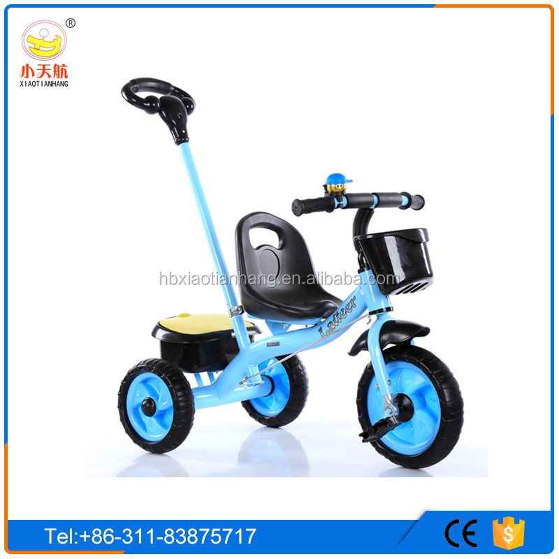 Chinese Factory 3 Rubber Wheels Baby Push Tricycle