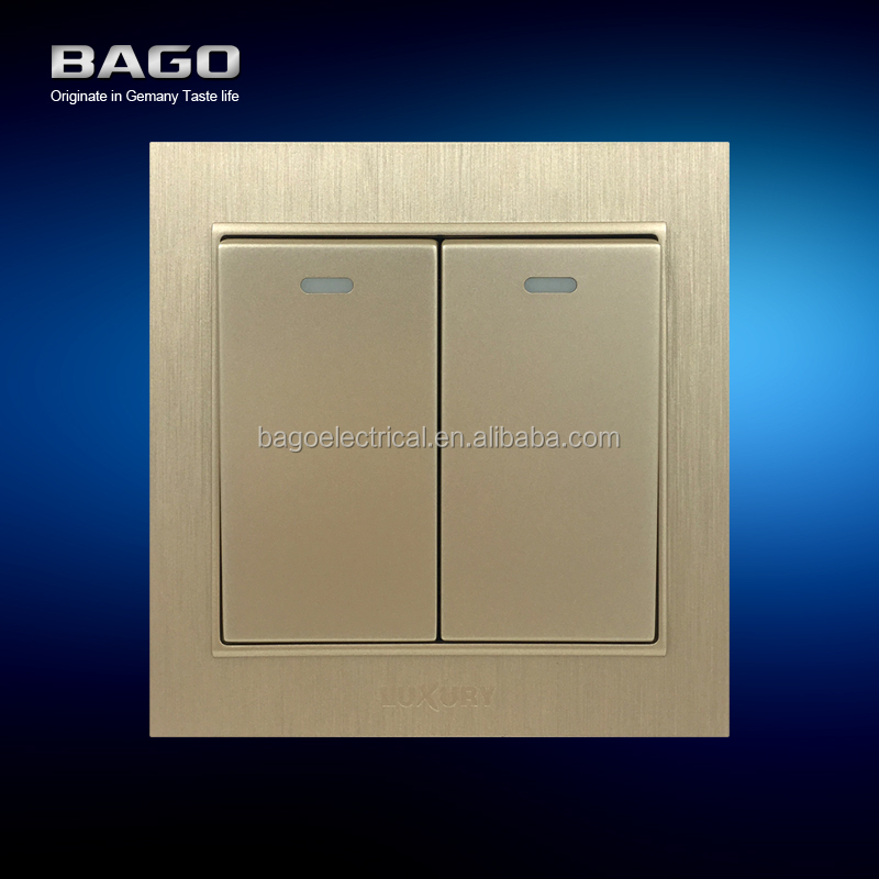 vertical golden PC brushed 2 gang 1 way electric wall switch