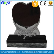 Hand-Heart Memorial Black Granite Tombstone