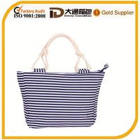 Custom white black tripe beach bag for wholesale