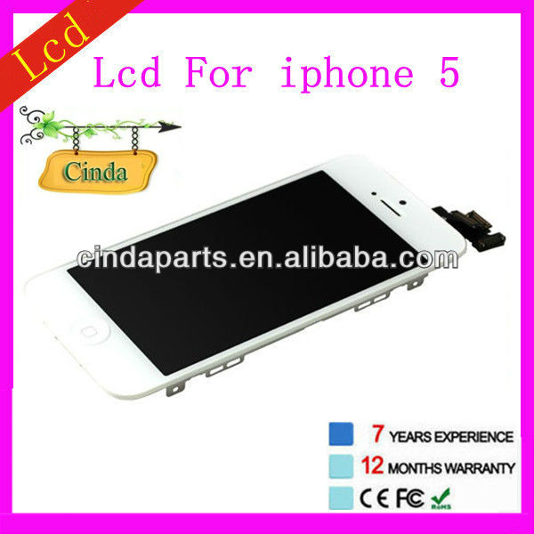 "wholesale for iphone 5"" lcd and digitizer original for iphone 5 LCD screens ------make in China"