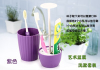 New design eco-friendly table plastic tooth makeup brush holder and cup , fashion tooth brushes holder set