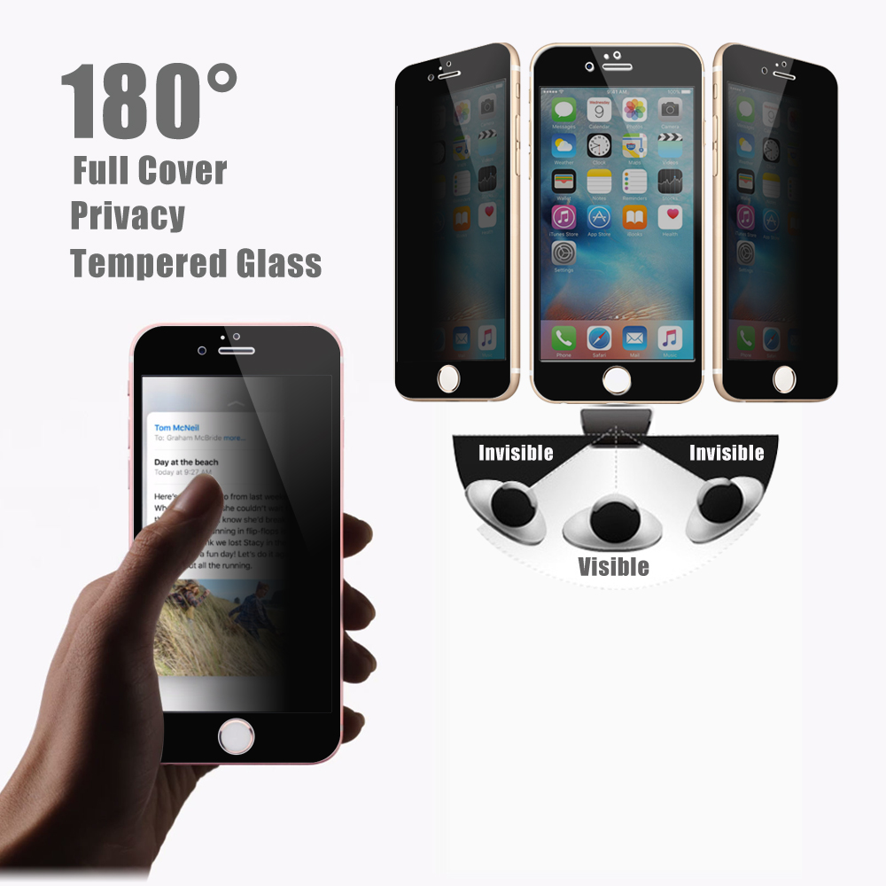 2016 newest ! OEM / ODM 180 degree 2.5D 9H anti-spy full covered privacy tempered glass screen protector for iphone 6 / 6s