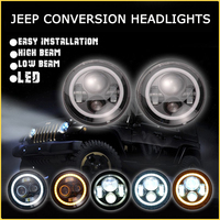 Wholesale Promotion angel eye led work light 7inch led head light for j eep wrangler accessories led headlight