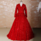RSW461 Detachable Train V Neckline Keyhole Back Shine Beading Lace Ball Gown Red Wedding Dresses With Sleeves