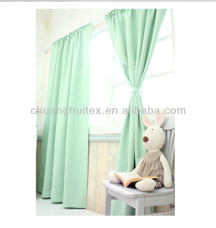 New Item Energy Saving rod pocket Green colour blackout fabric window Curtain